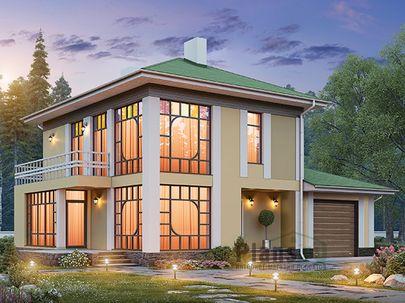 Проект двухэтажного дома 15x10 метров, общей площадью 146 м2, из газобетона (пеноблоков), c гаражом, террасой, котельной и кухней-столовой
