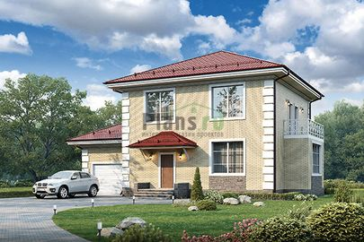 Проект двухэтажного дома 15x10 метров, общей площадью 163 м2, из кирпича, c гаражом и котельной
