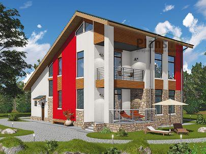 Проект двухэтажного дома 15x10 метров, общей площадью 171 м2, из газобетона (пеноблоков), c террасой, котельной и кухней-столовой