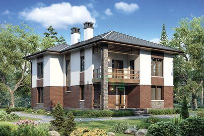 Проект двухэтажного дома 15x11 метров, общей площадью 195 м2, из газобетона (пеноблоков), c террасой и котельной