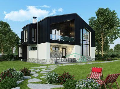 Проект двухэтажного дома 15x11 метров, общей площадью 198 м2, из керамических блоков, со вторым светом, c террасой, котельной и кухней-столовой