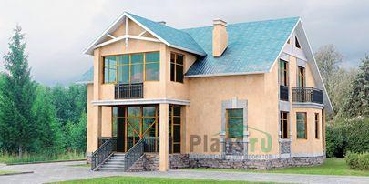Проект двухэтажного дома 15x11 метров, общей площадью 201 м2, из газобетона (пеноблоков)