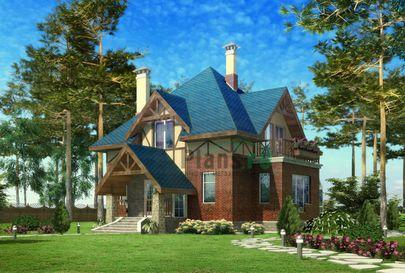 Проект двухэтажного дома 15x12 метров, общей площадью 174 м2, из керамических блоков, c зимним садом и кухней-столовой