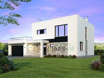 Проект двухэтажного дома 15x12 метров, общей площадью 180 м2, из керамических блоков, c гаражом, террасой, котельной и кухней-столовой