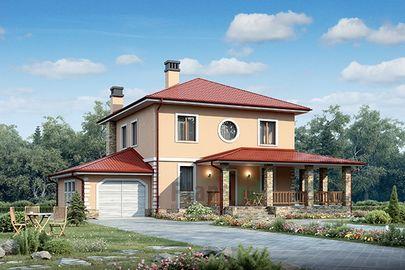 Проект двухэтажного дома 15x12 метров, общей площадью 186 м2, из газобетона (пеноблоков), c гаражом, террасой, котельной и кухней-столовой
