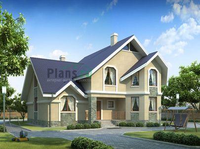 Проект двухэтажного дома 15x12 метров, общей площадью 204 м2, из газобетона (пеноблоков), c котельной и кухней-столовой