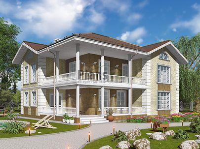 Проект двухэтажного дома 15x12 метров, общей площадью 206 м2, из керамических блоков, c террасой, котельной и кухней-столовой