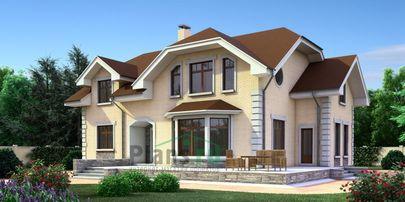 Проект двухэтажного дома 15x12 метров, общей площадью 223 м2, из газобетона (пеноблоков), c террасой, котельной и кухней-столовой
