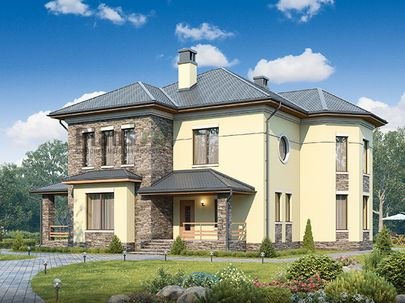 Проект двухэтажного дома 15x12 метров, общей площадью 228 м2, из газобетона (пеноблоков), c террасой, котельной и кухней-столовой