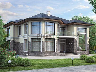 Проект двухэтажного дома 15x12 метров, общей площадью 240 м2, из керамических блоков, со вторым светом, c террасой, котельной и кухней-столовой