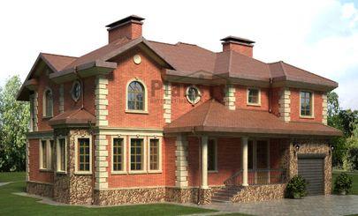 Проект двухэтажного дома 15x12 метров, общей площадью 244 м2, из керамических блоков, со вторым светом, c террасой и котельной