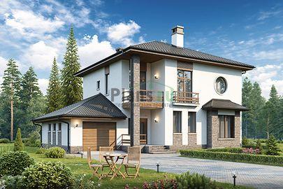 Проект двухэтажного дома 15x13 метров, общей площадью 185 м2, из кирпича, c гаражом и котельной
