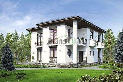 Проект двухэтажного дома 15x13 метров, общей площадью 211 м2, из газобетона (пеноблоков), c террасой, котельной и кухней-столовой
