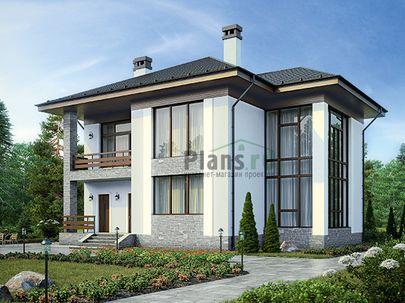 Проект двухэтажного дома 15x13 метров, общей площадью 213 м2, из газобетона (пеноблоков), со вторым светом, c террасой, котельной и кухней-столовой