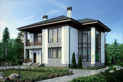 Проект двухэтажного дома 15x13 метров, общей площадью 213 м2, из керамических блоков, со вторым светом, c террасой, котельной и кухней-столовой