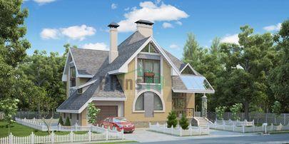 Проект двухэтажного дома 15x13 метров, общей площадью 219 м2, из газобетона (пеноблоков), c гаражом
