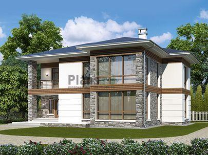 Проект двухэтажного дома 15x13 метров, общей площадью 220 м2, из газобетона (пеноблоков), c террасой, котельной и кухней-столовой