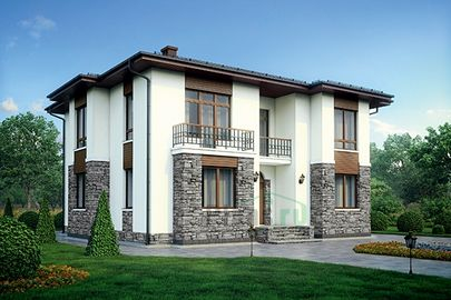 Проект двухэтажного дома 15x13 метров, общей площадью 221 м2, из газобетона (пеноблоков), c террасой, котельной и кухней-столовой
