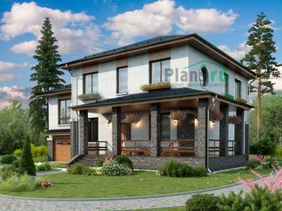 Проект двухэтажного дома 15x13 метров, общей площадью 225 м2, из керамических блоков, c гаражом, террасой и котельной