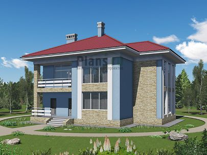 Проект двухэтажного дома 15x13 метров, общей площадью 228 м2, из газобетона (пеноблоков), c террасой, котельной и кухней-столовой