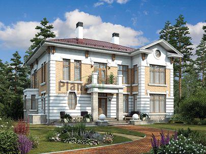 Проект двухэтажного дома 15x13 метров, общей площадью 235 м2, из керамических блоков, c террасой, котельной и кухней-столовой