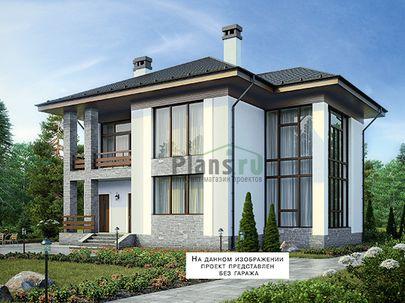 Проект двухэтажного дома 15x13 метров, общей площадью 247 м2, из газобетона (пеноблоков), со вторым светом, c гаражом, террасой, котельной и кухней-столовой