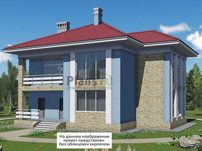 Проект двухэтажного дома 15x13 метров, общей площадью 263 м2, из керамических блоков, c террасой, котельной и кухней-столовой