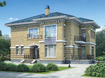 Проект двухэтажного дома 15x13 метров, общей площадью 266 м2, из керамических блоков, c террасой, котельной и кухней-столовой