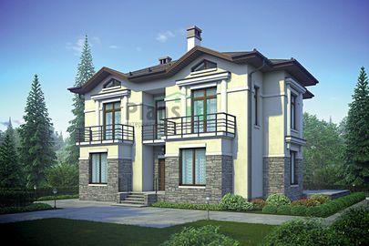 Проект двухэтажного дома 15x14 метров, общей площадью 180 м2, из керамических блоков, c котельной