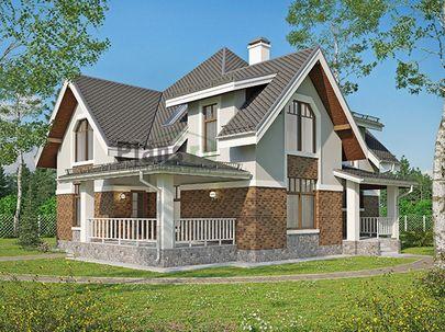 Проект двухэтажного дома 15x14 метров, общей площадью 191 м2, из керамических блоков, c террасой, котельной и кухней-столовой