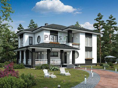 Проект двухэтажного дома 15x14 метров, общей площадью 200 м2, из керамических блоков, c террасой, котельной и кухней-столовой