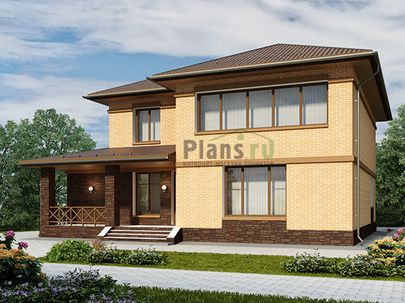 Проект двухэтажного дома 15x14 метров, общей площадью 223 м2, из газобетона (пеноблоков), c террасой, котельной, лоджией и кухней-столовой