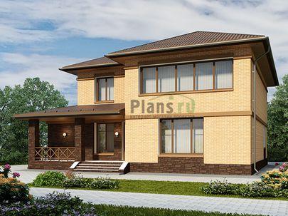 Проект двухэтажного дома 15x14 метров, общей площадью 235 м2, из керамических блоков, c террасой, котельной, лоджией и кухней-столовой