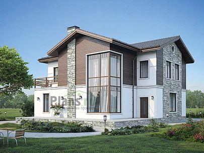 Проект двухэтажного дома 15x14 метров, общей площадью 236 м2, из керамических блоков, со вторым светом, c террасой и кухней-столовой