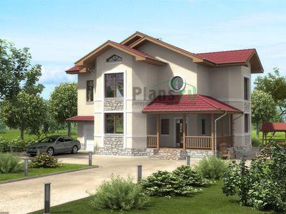 Проект двухэтажного дома 15x14 метров, общей площадью 249 м2, из газобетона (пеноблоков), c гаражом, террасой и котельной