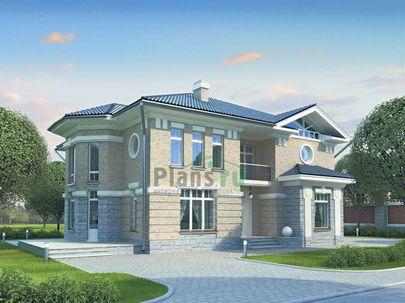 Проект двухэтажного дома 15x14 метров, общей площадью 266 м2, из керамических блоков, со вторым светом, c террасой, котельной, лоджией и кухней-столовой