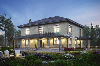 Проект двухэтажного дома 15x14 метров, общей площадью 274 м2, из керамических блоков, c террасой, котельной и кухней-столовой