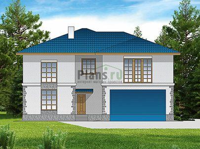 Проект двухэтажного дома 15x14 метров, общей площадью 309 м2, из керамических блоков, c гаражом, котельной и кухней-столовой