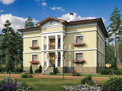 Проект двухэтажного дома 15x14 метров, общей площадью 310 м2, из керамических блоков, c террасой, котельной и кухней-столовой