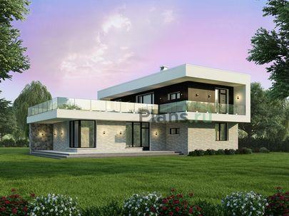 Проект двухэтажного дома 15x15 метров, общей площадью 193 м2, из керамических блоков, c гаражом, террасой, котельной и кухней-столовой