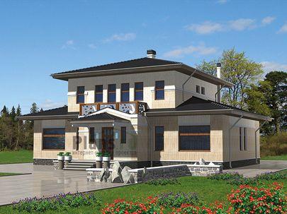 Проект двухэтажного дома 15x15 метров, общей площадью 217 м2, из керамических блоков, c бассейном, террасой, котельной и кухней-столовой