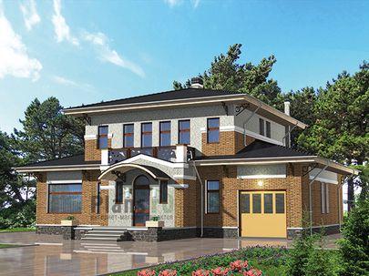 Проект двухэтажного дома 15x15 метров, общей площадью 217 м2, из керамических блоков, c гаражом, бассейном, террасой, котельной и кухней-столовой