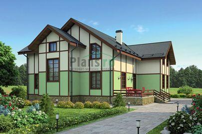 Проект двухэтажного дома 15x15 метров, общей площадью 221 м2, из керамических блоков, со вторым светом, c террасой и котельной