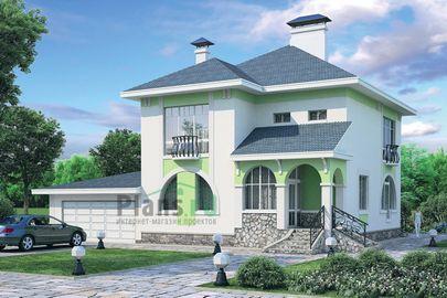 Проект двухэтажного дома 15x15 метров, общей площадью 223 м2, из керамических блоков, c гаражом
