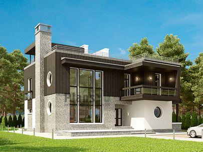 Проект двухэтажного дома 15x15 метров, общей площадью 229 м2, из керамических блоков, со вторым светом, c террасой, котельной и кухней-столовой