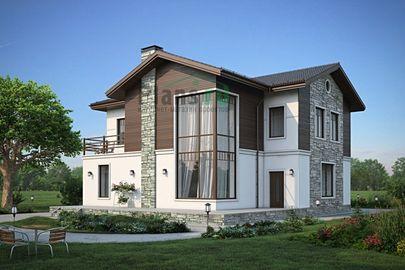 Проект двухэтажного дома 15x15 метров, общей площадью 238 м2, из керамических блоков, со вторым светом, c террасой, котельной и кухней-столовой