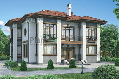 Проект двухэтажного дома 15x15 метров, общей площадью 242 м2, из керамических блоков, c террасой, котельной и кухней-столовой
