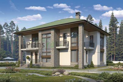 Проект двухэтажного дома 15x15 метров, общей площадью 247 м2, из керамических блоков, c террасой, котельной и кухней-столовой