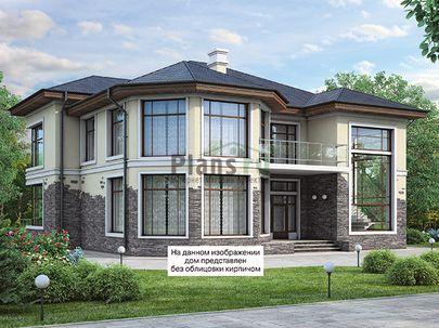 Проект двухэтажного дома 15x15 метров, общей площадью 256 м2, из керамических блоков, c террасой, котельной и кухней-столовой