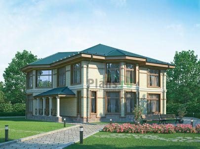 Проект двухэтажного дома 15x15 метров, общей площадью 267 м2, из керамических блоков, c террасой, котельной и кухней-столовой